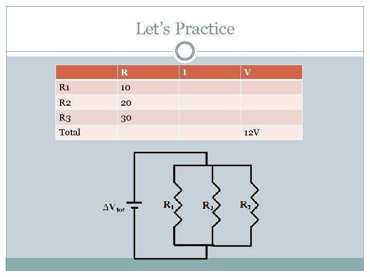 Let's Practice R R 1 20 R 3 V 10 R 2 I VIR