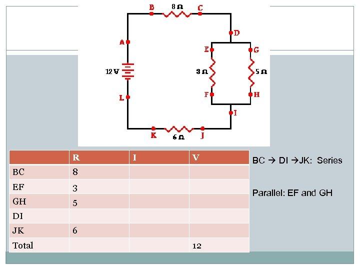 R BC 3 GH V 5 BC DI JK: Series 8 EF I Parallel: