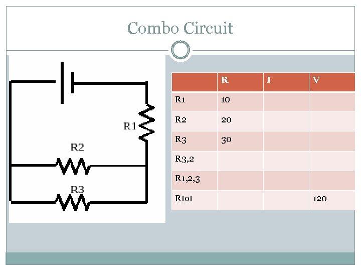 Combo Circuit R R 1 20 R 3 V 10 R 2 I 30
