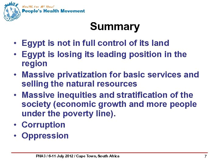 Summary • Egypt is not in full control of its land • Egypt is