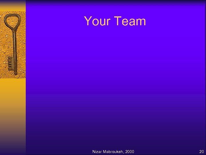 Your Team Nizar Mabroukeh, 2000 20