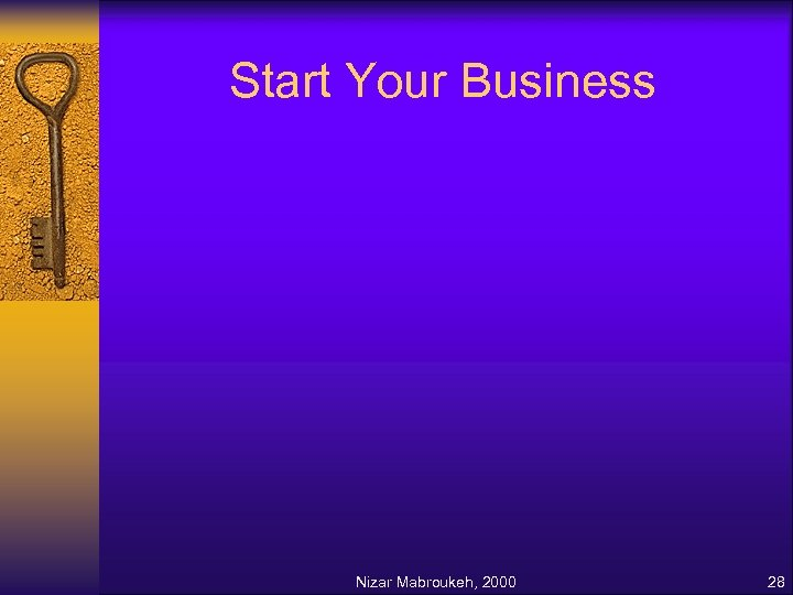 Start Your Business Nizar Mabroukeh, 2000 28