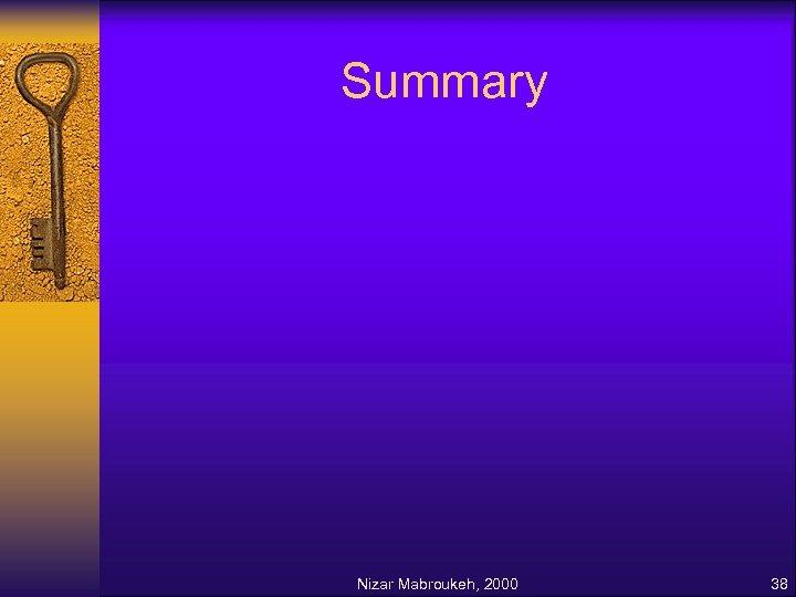 Summary Nizar Mabroukeh, 2000 38