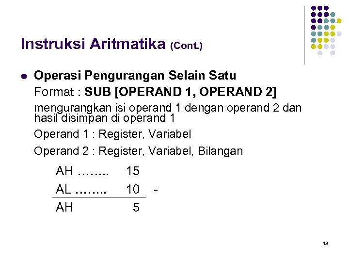 Instruksi Aritmatika (Cont. ) l Operasi Pengurangan Selain Satu Format : SUB [OPERAND 1,