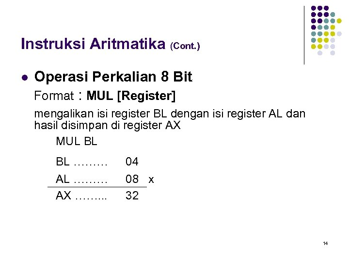 Instruksi Aritmatika (Cont. ) l Operasi Perkalian 8 Bit Format : MUL [Register] mengalikan