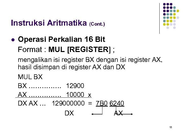 Instruksi Aritmatika (Cont. ) l Operasi Perkalian 16 Bit Format : MUL [REGISTER] ;