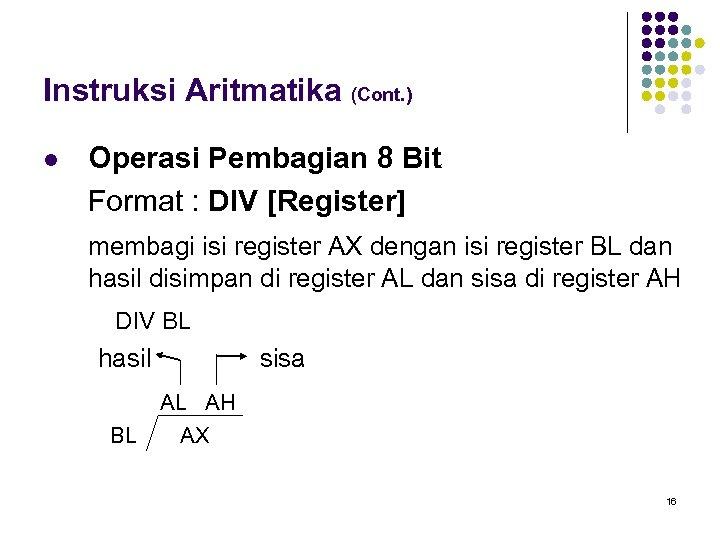 Instruksi Aritmatika (Cont. ) l Operasi Pembagian 8 Bit Format : DIV [Register] membagi