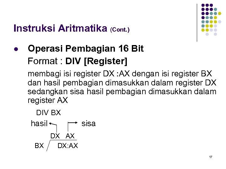 Instruksi Aritmatika (Cont. ) l Operasi Pembagian 16 Bit Format : DIV [Register] membagi