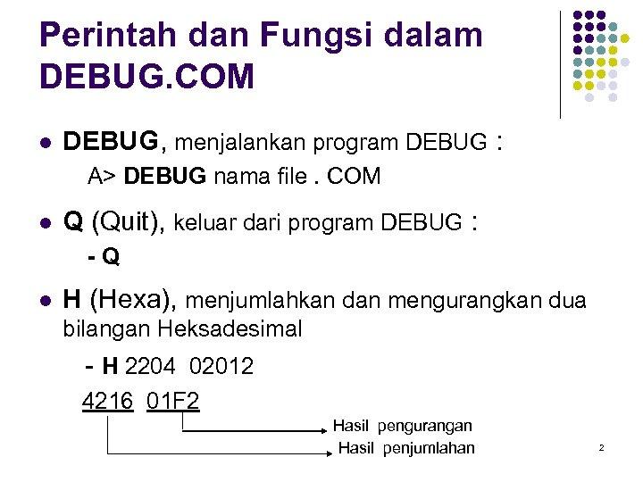Perintah dan Fungsi dalam DEBUG. COM l DEBUG, menjalankan program DEBUG : A> DEBUG