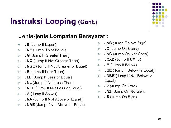 Instruksi Looping (Cont. ) Jenis-jenis Lompatan Bersyarat : l Ø Ø Ø JE (Jump