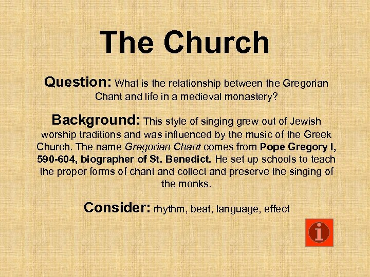 The Church Question: What is the relationship between the Gregorian Chant and life in