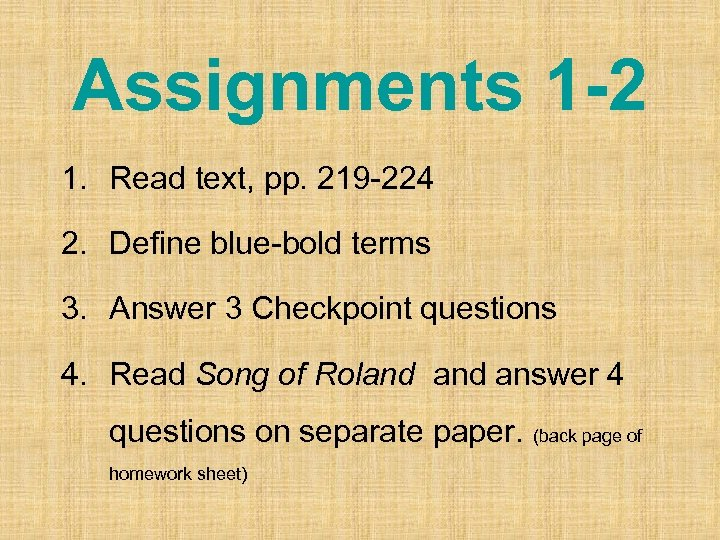 Assignments 1 -2 1. Read text, pp. 219 -224 2. Define blue-bold terms 3.