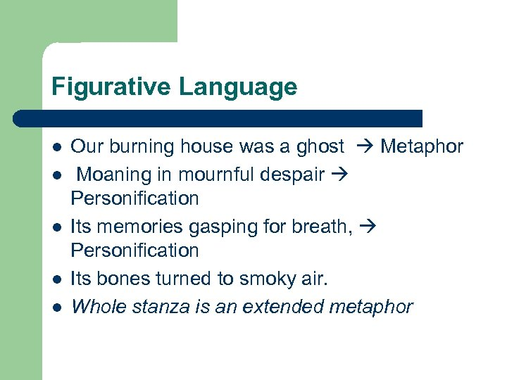 Figurative Language l l l Our burning house was a ghost Metaphor Moaning in