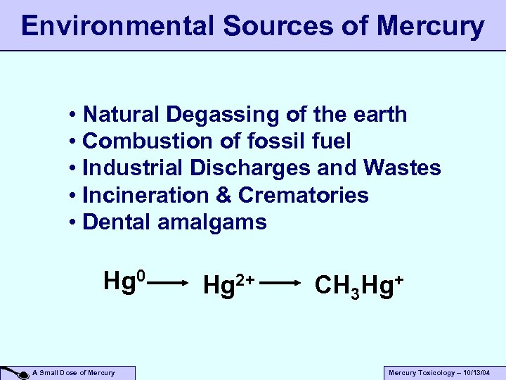 Environmental Sources of Mercury • Natural Degassing of the earth • Combustion of fossil