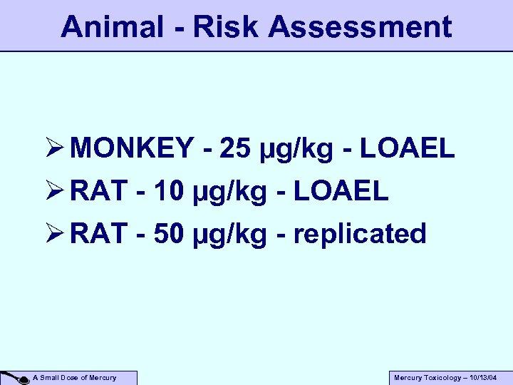 Animal - Risk Assessment Ø MONKEY - 25 µg/kg - LOAEL Ø RAT -
