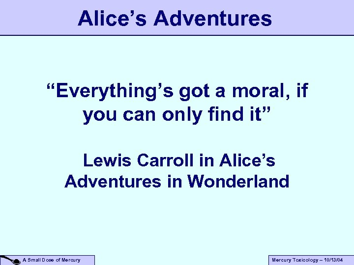 "Alice's Adventures ""Everything's got a moral, if you can only find it"" Lewis Carroll"