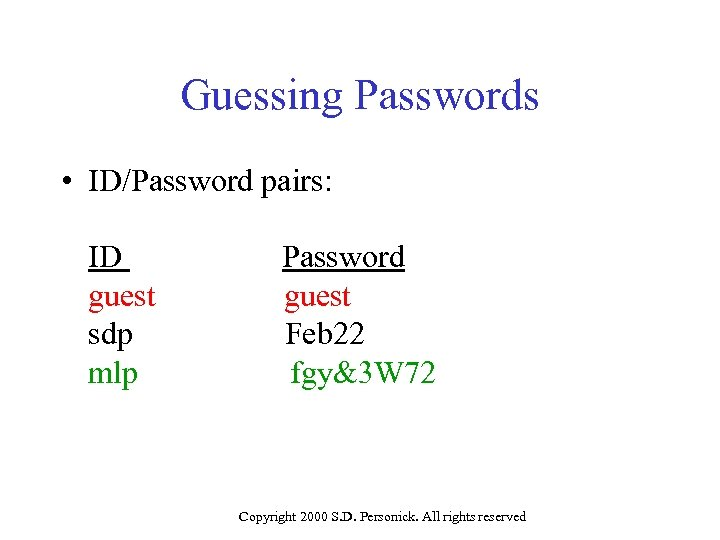 Guessing Passwords • ID/Password pairs: ID guest sdp mlp Password guest Feb 22 fgy&3