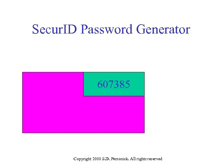 Secur. ID Password Generator 607385 Copyright 2000 S. D. Personick. All rights reserved