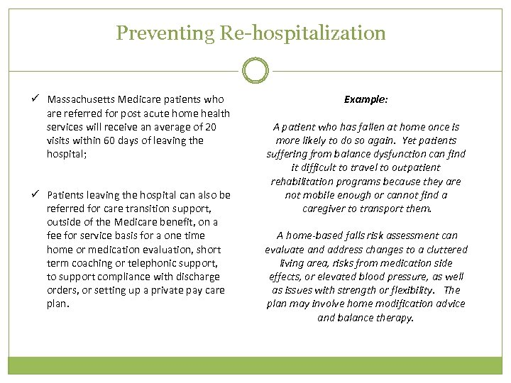 Preventing Re-hospitalization ü Massachusetts Medicare patients who are referred for post acute home health