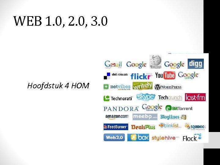 WEB 1. 0, 2. 0, 3. 0 Hoofdstuk 4 HOM