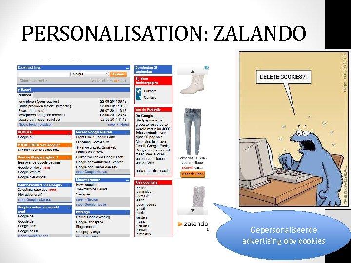 PERSONALISATION: ZALANDO Gepersonaliseerde advertising obv cookies