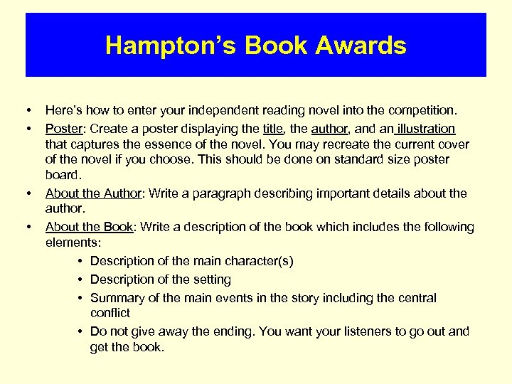 Hampton's Book Awards • • Here's how to enter your independent reading novel into