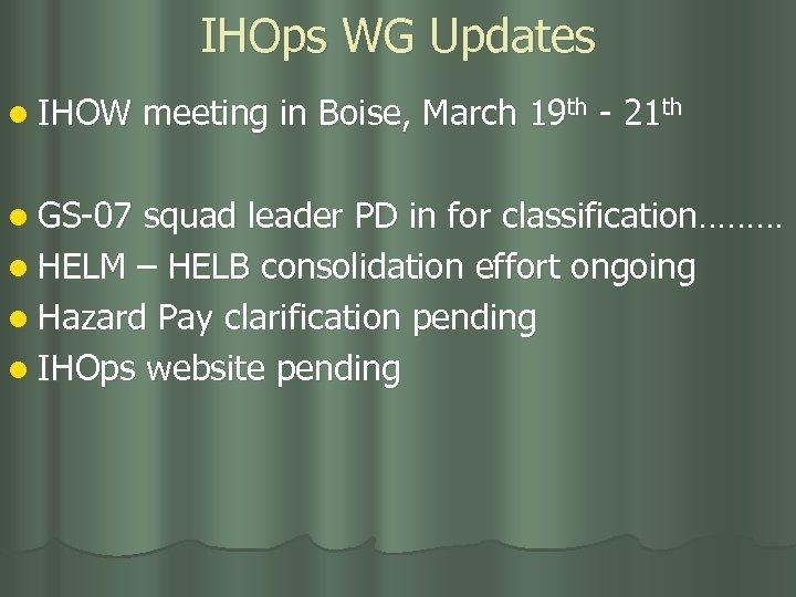 IHOps WG Updates l IHOW l GS-07 meeting in Boise, March 19 th -