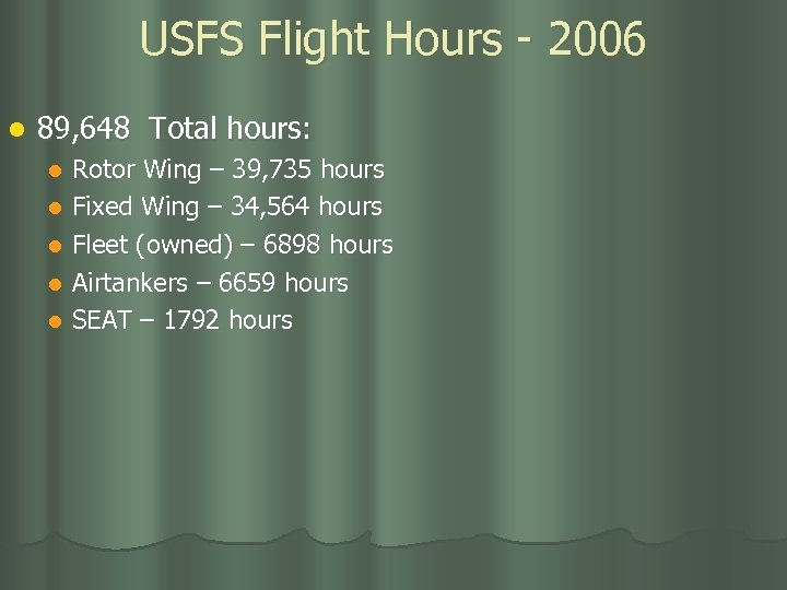 USFS Flight Hours - 2006 l 89, 648 Total hours: Rotor Wing – 39,