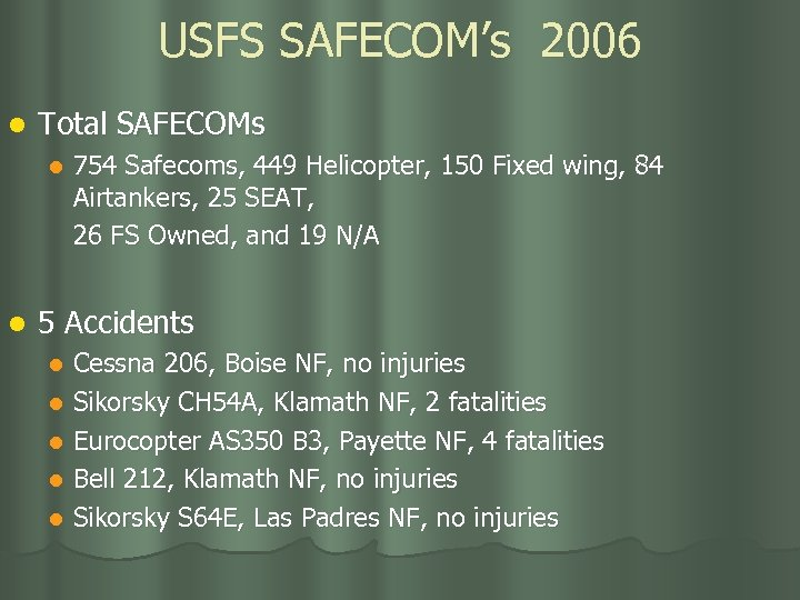 USFS SAFECOM's 2006 l Total SAFECOMs l l 754 Safecoms, 449 Helicopter, 150 Fixed