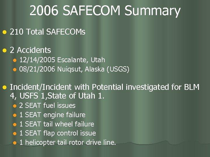 2006 SAFECOM Summary l 210 Total SAFECOMs l 2 Accidents 12/14/2005 Escalante, Utah l