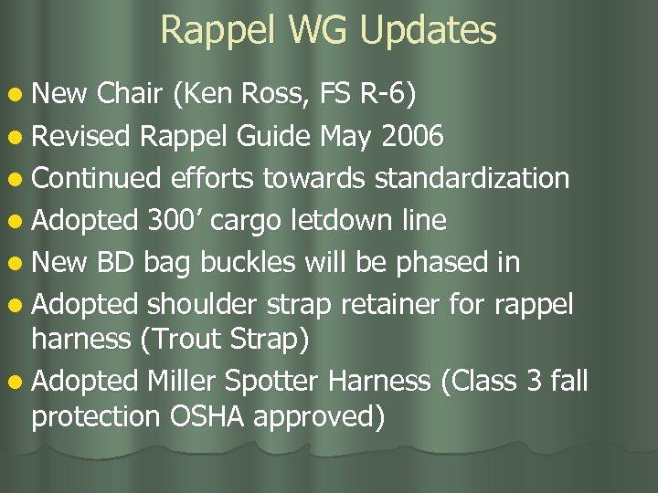 Rappel WG Updates l New Chair (Ken Ross, FS R-6) l Revised Rappel Guide