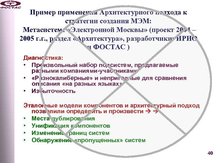 Пример применения Архитектурного подхода к стратегии создания МЭМ: Метасистеме «Электронной Москвы» (проект 2004 –