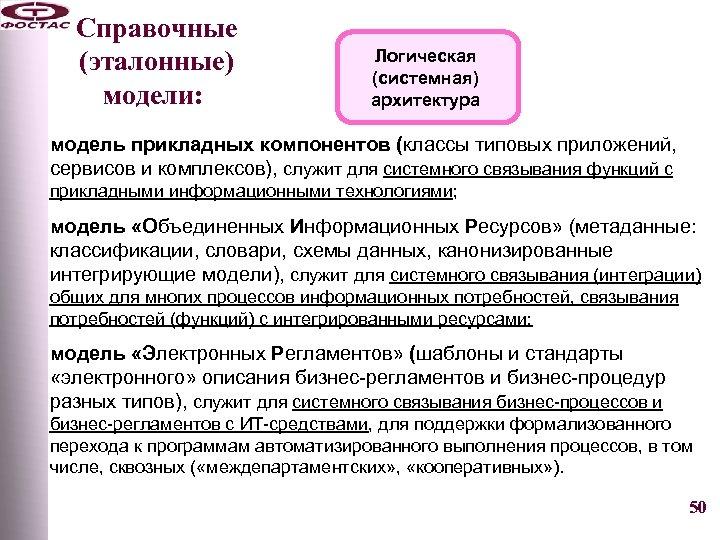Справочные (эталонные) модели: Логическая (системная) архитектура модель прикладных компонентов (классы типовых приложений, сервисов и