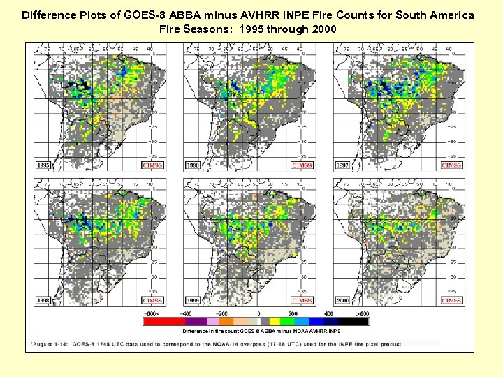 Difference Plots of GOES-8 ABBA minus AVHRR INPE Fire Counts for South America Fire
