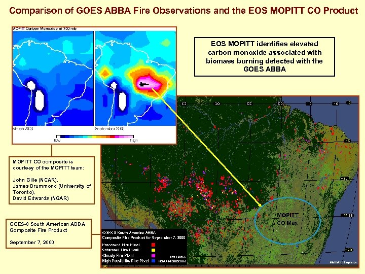 Comparison of GOES ABBA Fire Observations and the EOS MOPITT CO Product EOS MOPITT
