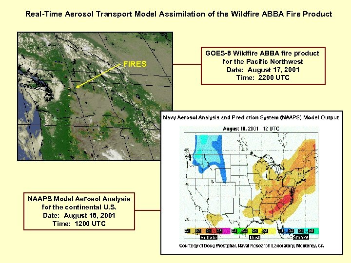 Real-Time Aerosol Transport Model Assimilation of the Wildfire ABBA Fire Product FIRES NAAPS Model