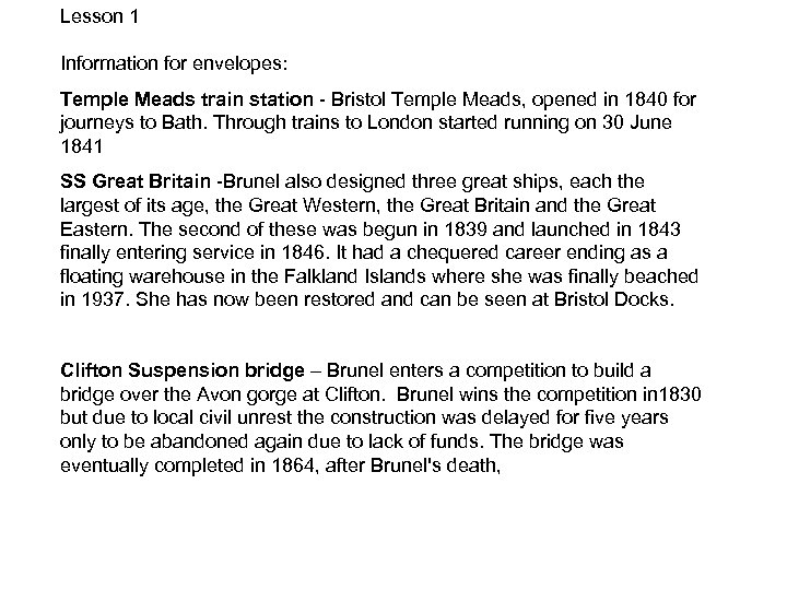 Lesson 1 Information for envelopes: Temple Meads train station - Bristol Temple Meads, opened