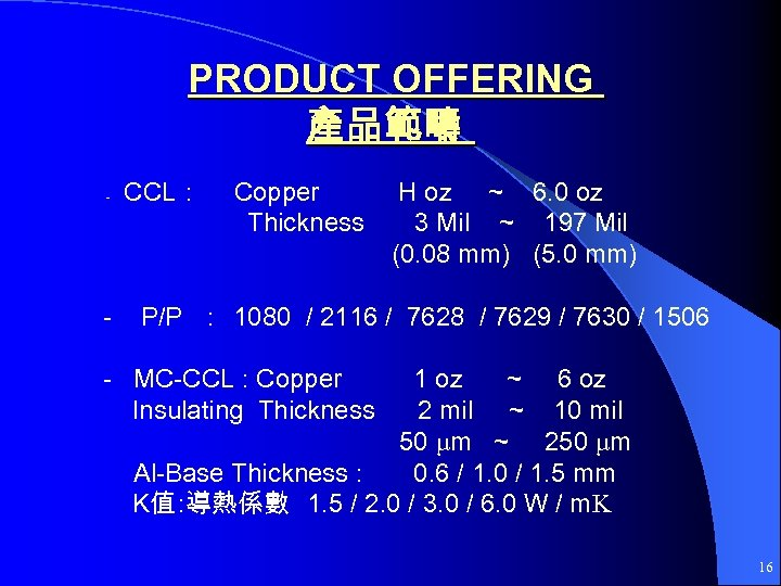 PRODUCT OFFERING 產品範疇 - - CCL: Copper Thickness H oz ~ 6. 0 oz