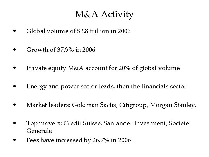 M&A Activity • Global volume of $3. 8 trillion in 2006 • Growth of