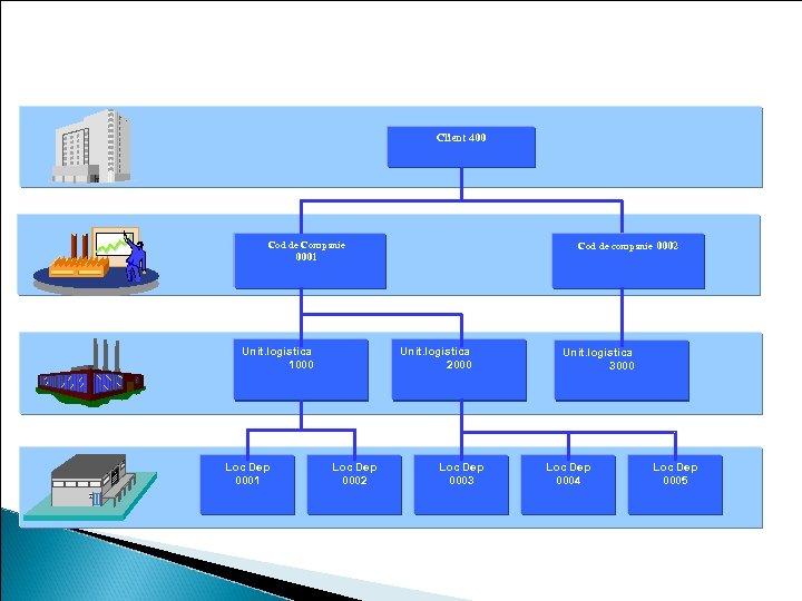 Nivelele organizationale in gestiunea inventarului Client 400 Cod de Companie Cod de companie 0002
