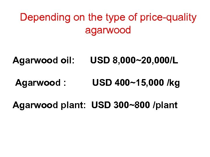 Depending on the type of price-quality agarwood Agarwood oil: USD 8, 000~20, 000/L Agarwood