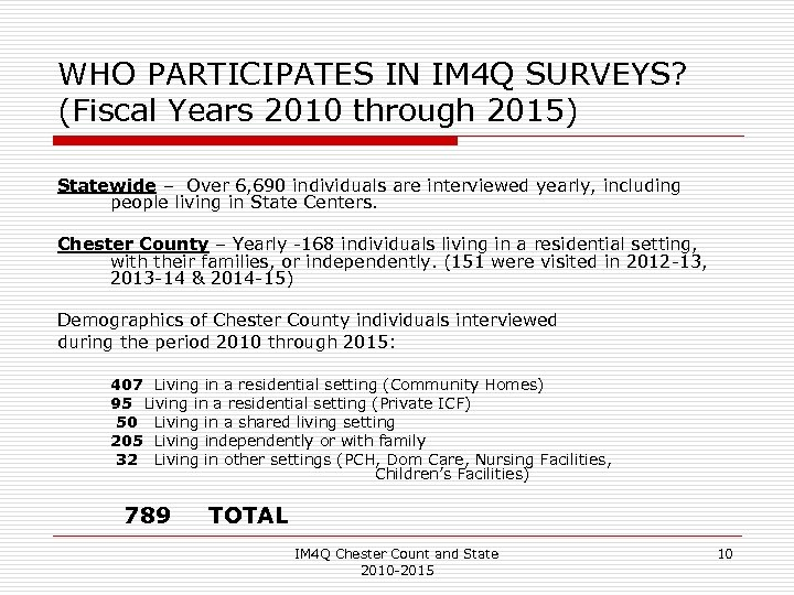 WHO PARTICIPATES IN IM 4 Q SURVEYS? (Fiscal Years 2010 through 2015) Statewide –