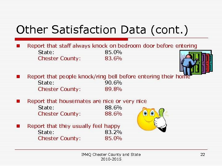 Other Satisfaction Data (cont. ) n Report that staff always knock on bedroom door