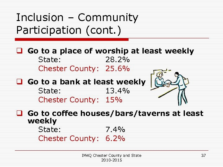 Inclusion – Community Participation (cont. ) q Go to a place of worship at