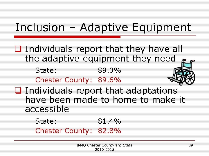 Inclusion – Adaptive Equipment q Individuals report that they have all the adaptive equipment