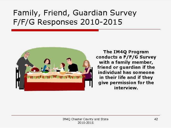 Family, Friend, Guardian Survey F/F/G Responses 2010 -2015 The IM 4 Q Program conducts