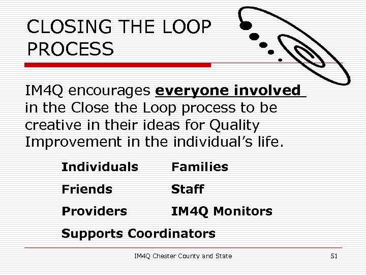 CLOSING THE LOOP PROCESS IM 4 Q encourages everyone involved in the Close the