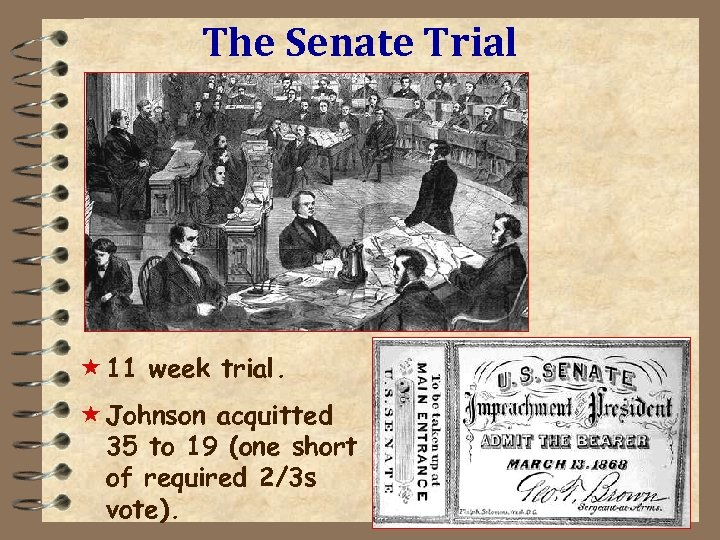 The Senate Trial « 11 week trial. « Johnson acquitted 35 to 19 (one