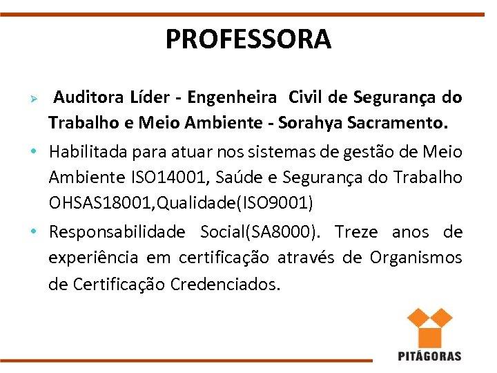 PROFESSORA Auditora Líder - Engenheira Civil de Segurança do Trabalho e Meio Ambiente -