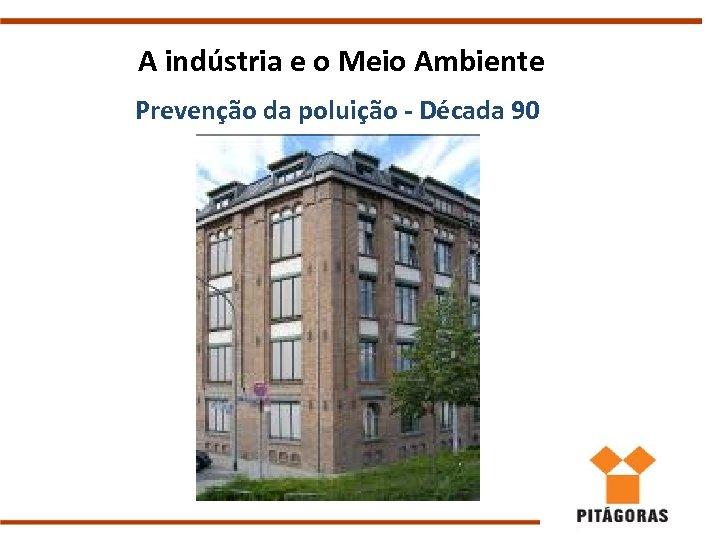 A indústria e o Meio Ambiente Prevenção da poluição - Década 90